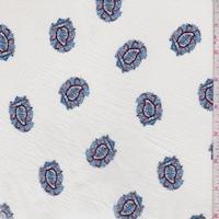 Ivory/Blue Ornate Paisley Crinkled Gauze