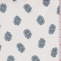 Ivory/Baby Blue Ornate Paisley Crinkled Gauze