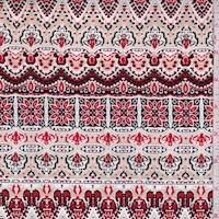 Sand/Red Deco Stripe Crepon