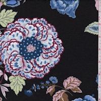 Black/Blue/Pink Stylized Floral Ponte Double Knit