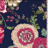 Navy/Berry Stylized Floral Ponte Double Knit