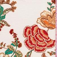 White/Tan Stylized Floral Ponte Double Knit