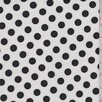 Off White/Black Polka Dot Ponte Double Knit