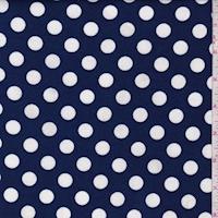 Deep Blue/White Polka Dot Ponte Double Knit