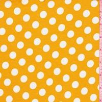 Golden Yellow/White Polka Dot Ponte Double Knit