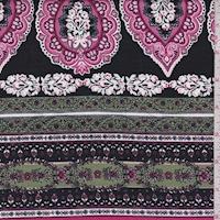 Black/Raspberry Stylized Stripe Print Cotton