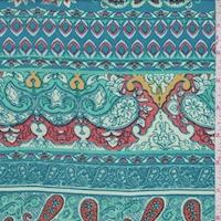 Aqua/Clay/Mint Paisley Stripe Rayon Challis