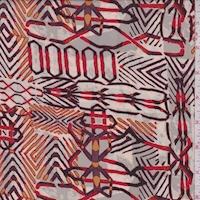 Stone/Beige/Maroon Inca Print Silk Georgette