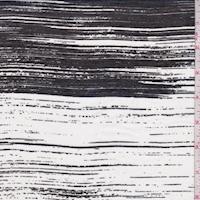 Black/Pearl Brush Stroke Stripe Lawn