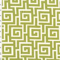 *10 YD PC--Pear Green/White Greek Key Maze Print Dobby Decor Fabric