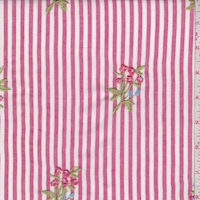 Berry/White Stripe Embroidered Floral Rayon Challis