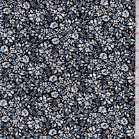 Black/White/Blue Mini Floral Rayon Challis