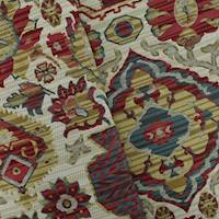 *1 1/2 YD PC--Red/Beige/Multi Aztec Floral Jacquard Home Decorating Fabric