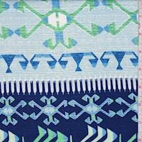 Mint/Navy Inca Stripe Crepon