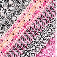 Red/Black/White Deco Diagonal Stripe Crepon