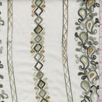 Pale Green Embroidered Deco Stripe Crinkled Gauze