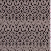 Taupe/Black Art Deco Jacquard Double Knit