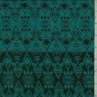Teal/Black Aztec Stripe Jacquard Double Knit