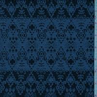 Black/Cobalt Aztec Stripe Jacquard Double Knit