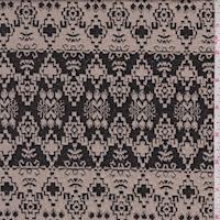 Beige/Black Aztec Stripe Jacquard Double Knit