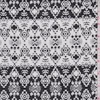Chalk/Black Aztec Stripe Jacquard Double Knit