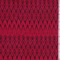 Cherry/Black Art Deco Jacquard Double Knit