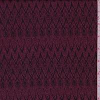 Mulberry/Black Art Deco Jacquard Double Knit