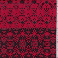 Cherry/Black Aztec Stripe Jacquard Double Knit