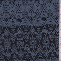 Pewter Blue/Black Aztec Stripe Jacquard Double Knit