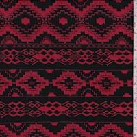 Red/Black Aztec Stripe Jacquard Double Knit