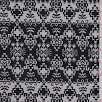 White/Black Aztec Stripe Jacquard Double Knit
