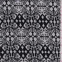 White/Black Scroll Octagon Jacquard Double Knit