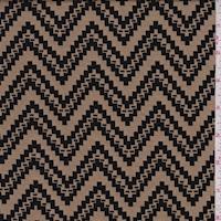 Sandy Tan/Black Jagged Chevron Jacquard Double Knit