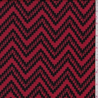Red/Black Jagged Chevron Jacquard Double Knit
