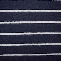 Navy Wool Blend Semi-Opaque Striped Pile Mesh