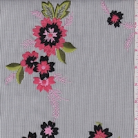 Slate/White Pinstripe Embroidered Floral
