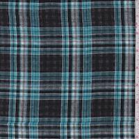 Black Aqua/Black White Plaid Reversible Cotton Gauze