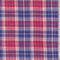 Red Violet/Red White Plaid Reversible Cotton Gauze