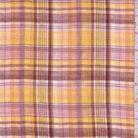 Copper/Yellow/Pink Plaid Reversible Cotton Gauze