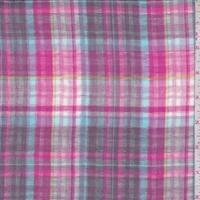 Dove/Hot Pink/Turquoise Plaid Reversible Cotton Gauze