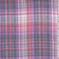 Lilac/Salmon/Slate Plaid Reversible Cotton Gauze