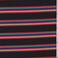 Black Rainbow Stripe Poor Boy Rib Knit