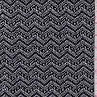 *2 YD PC--Black/White Deco Chevron Jacquard Double Knit