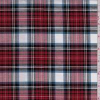 *5 YD PC--Red/Black/White Plaid Oxford Shirting