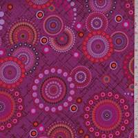 *3 1/8 YD PC--Fuchsia Dot Medallion Print Cotton