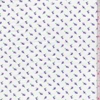 *1 1/4 YD PC--White/Purple Mini Rosebud Cotton Flannel