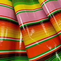 *3/4 YD PC--Pink Multi Stripe Oilcloth