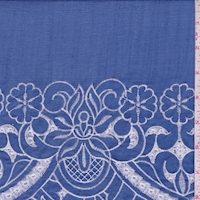 Berry Blue/White Embroidered Floral Linen Look