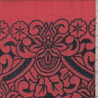 Bright Red/Navy Embroidered Floral Linen Look