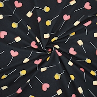 Black/Coral Lollipop Heart Printed Double Brushed ITY Knit